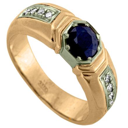 Печатка мужская из золота 585 пробы с бриллиантами и рубином